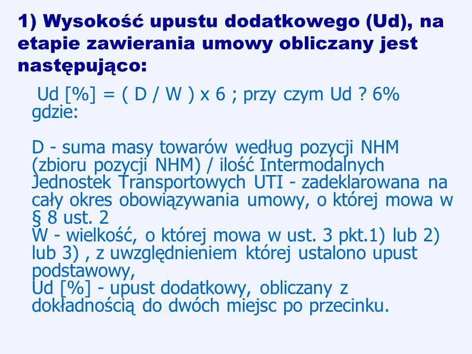 1) Wysokość upustu dodatkowego (Ud), na etapie zawierania umowy obliczany jest następująco: