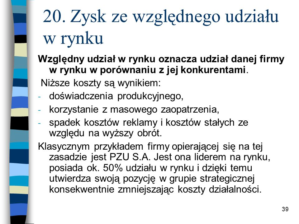 20. Zysk ze względnego udziału w rynku