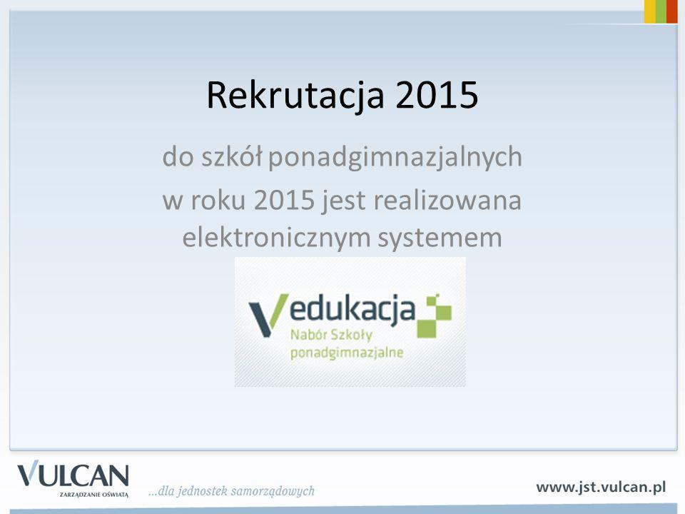 Rekrutacja 2015 do szkół ponadgimnazjalnych