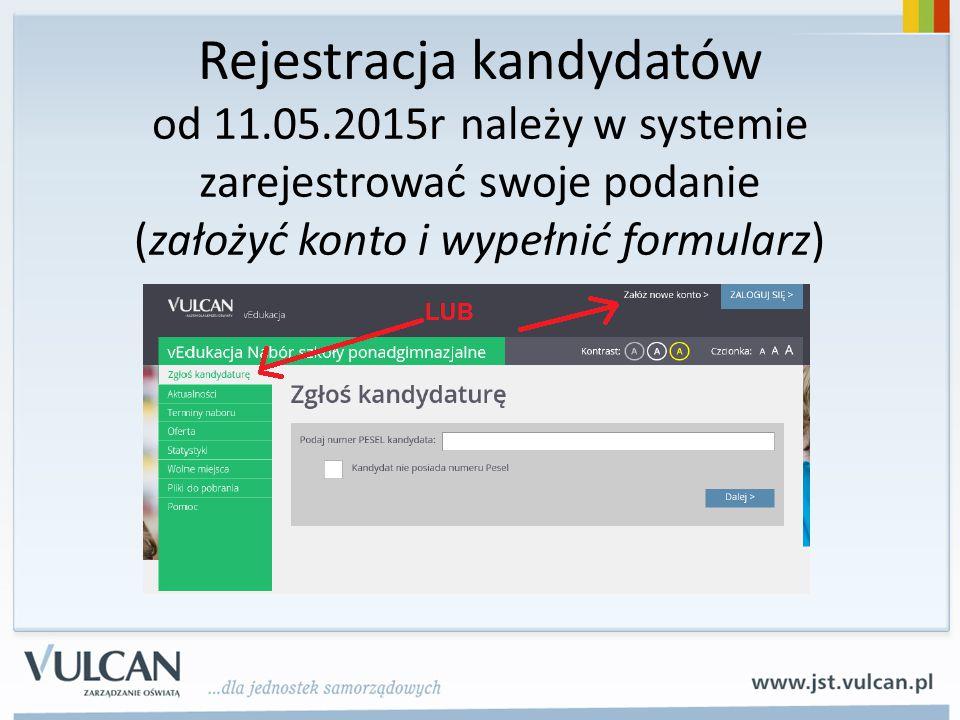 Rejestracja kandydatów od 11. 05