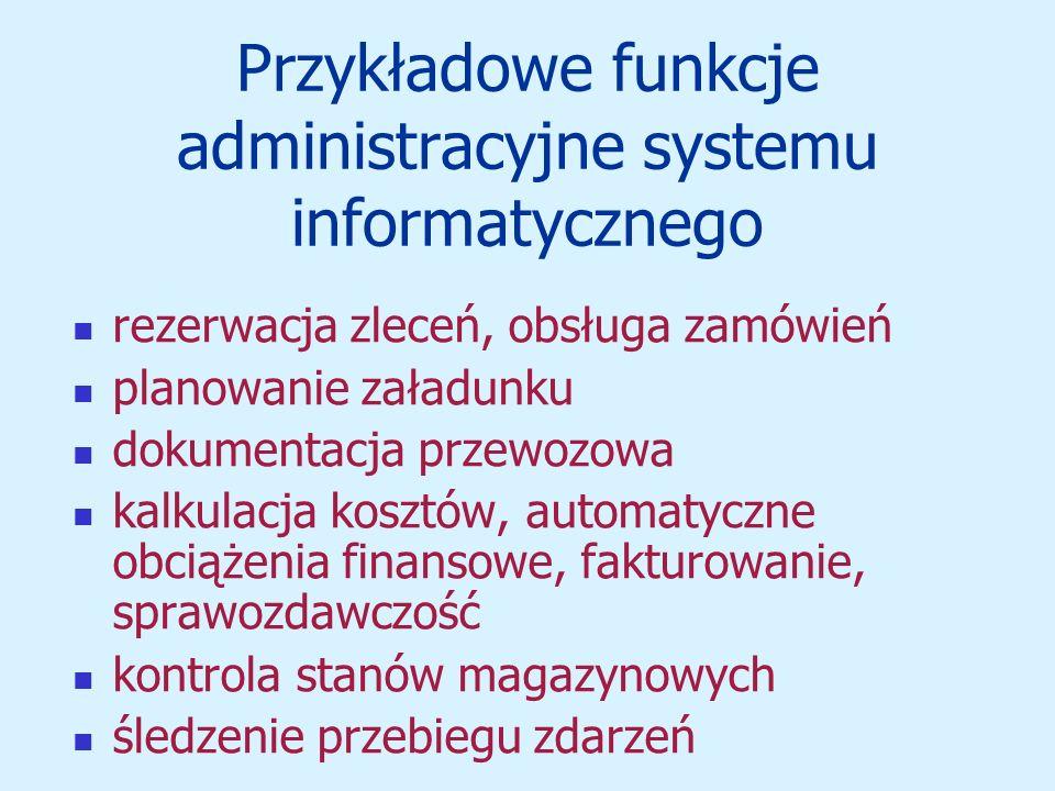 Przykładowe funkcje administracyjne systemu informatycznego