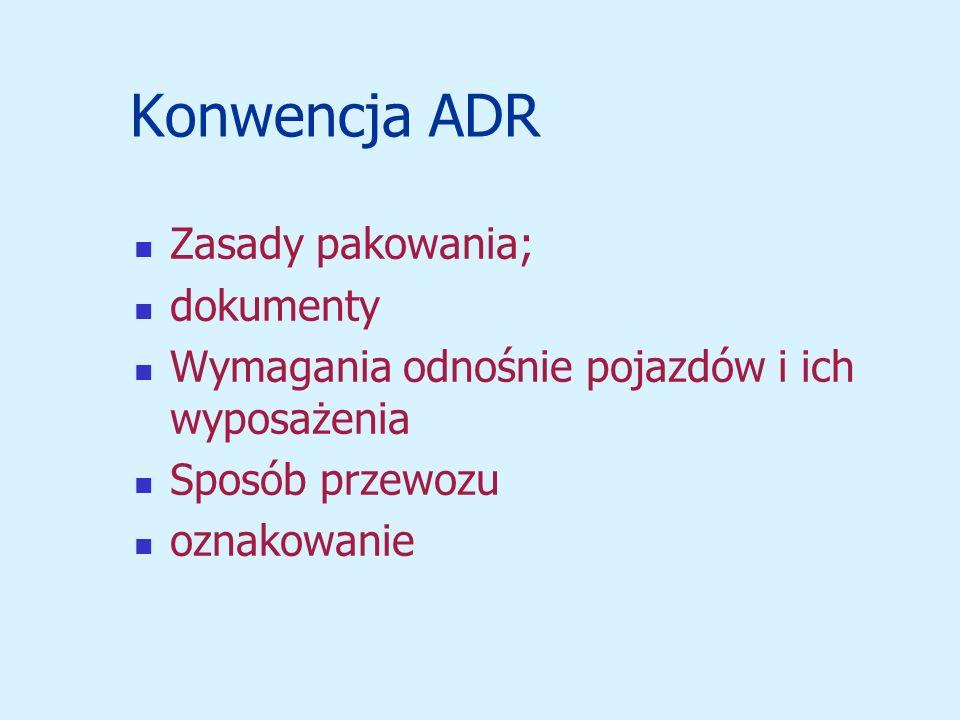 Konwencja ADR Zasady pakowania; dokumenty