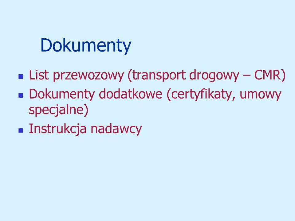 Dokumenty List przewozowy (transport drogowy – CMR)