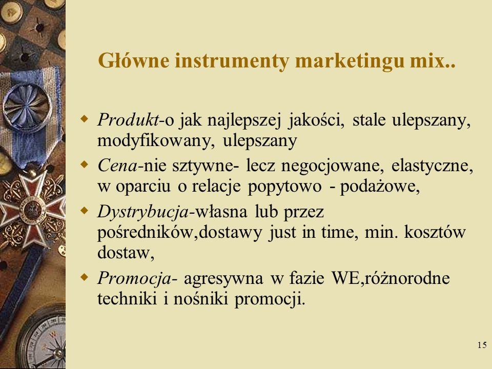 Główne instrumenty marketingu mix..