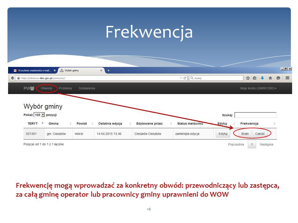 Frekwencja Frekwencję mogą wprowadzać za konkretny obwód: przewodniczący lub zastępca, za całą gminę operator lub pracownicy gminy uprawnieni do WOW.