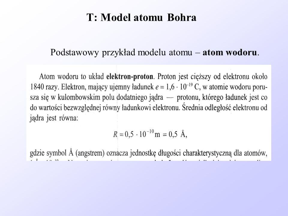 T: Model atomu Bohra Podstawowy przykład modelu atomu – atom wodoru.