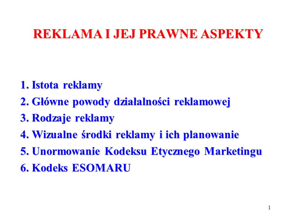 REKLAMA I JEJ PRAWNE ASPEKTY