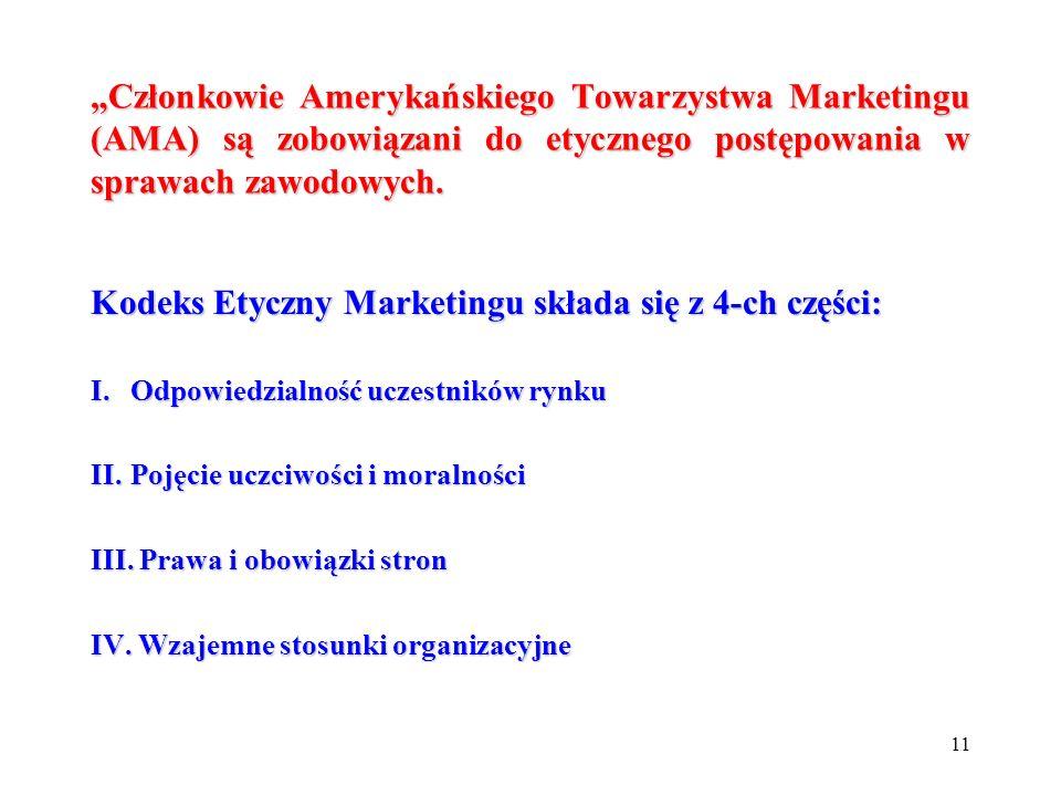 Kodeks Etyczny Marketingu składa się z 4-ch części: