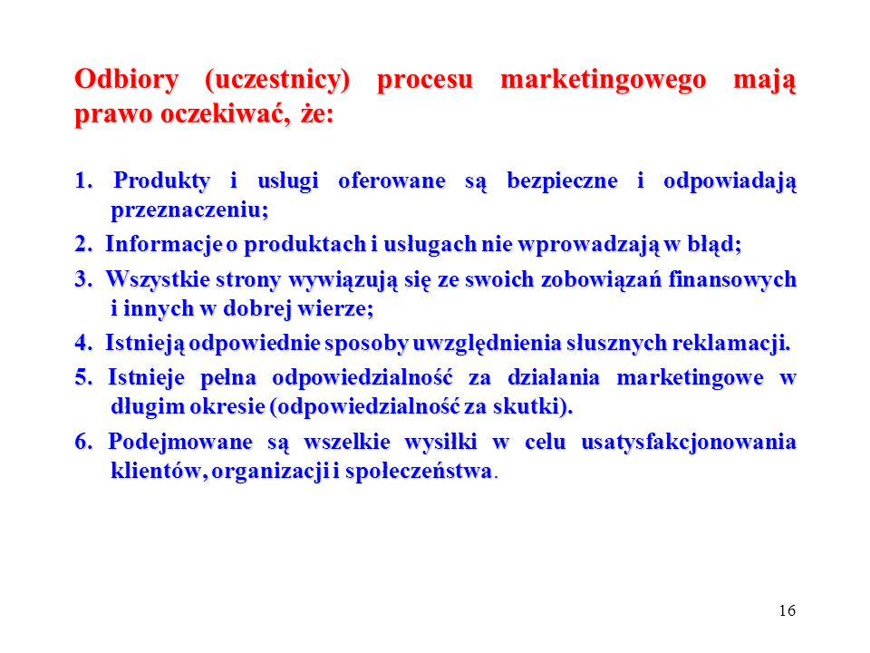 Odbiory (uczestnicy) procesu marketingowego mają prawo oczekiwać, że:
