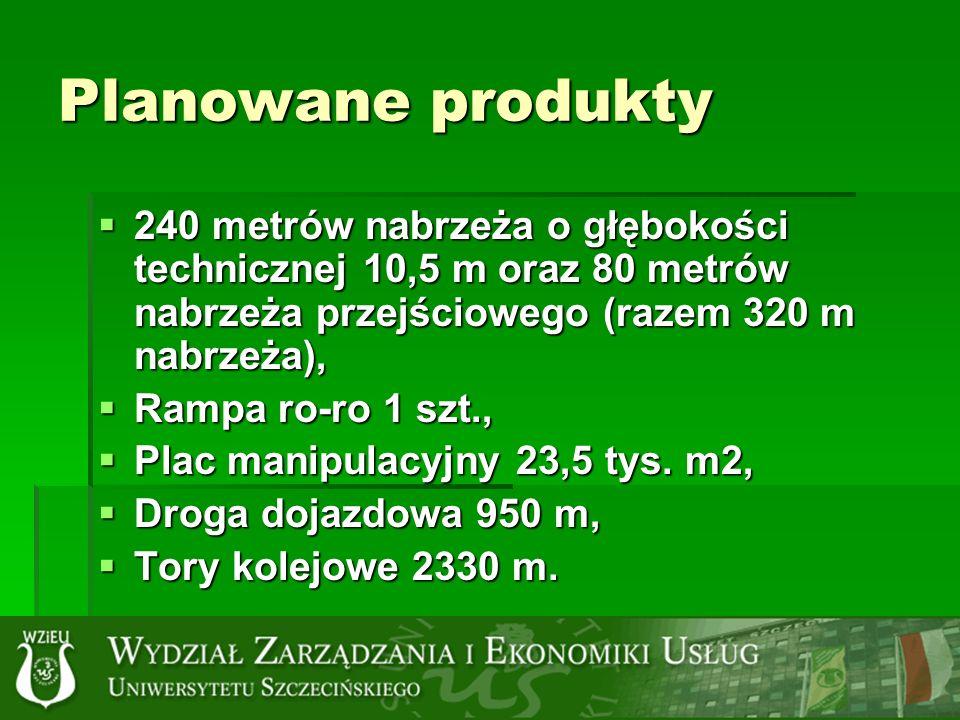 Planowane produkty 240 metrów nabrzeża o głębokości technicznej 10,5 m oraz 80 metrów nabrzeża przejściowego (razem 320 m nabrzeża),