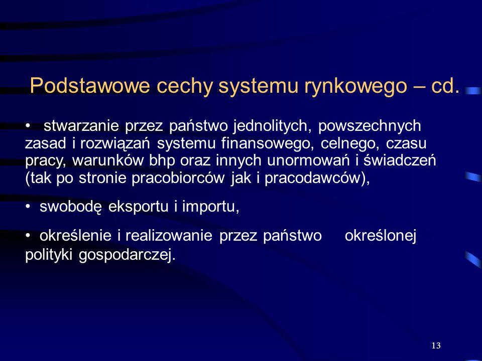 Podstawowe cechy systemu rynkowego – cd.
