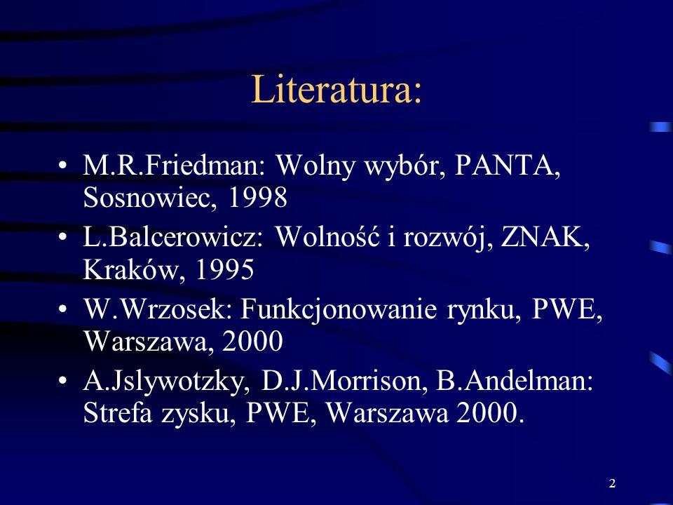 Literatura: M.R.Friedman: Wolny wybór, PANTA, Sosnowiec, 1998