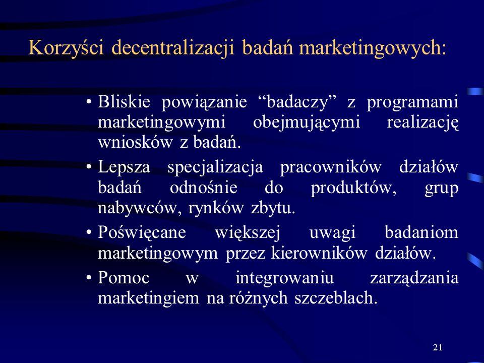 Korzyści decentralizacji badań marketingowych: