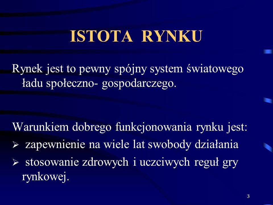 ISTOTA RYNKU Rynek jest to pewny spójny system światowego ładu społeczno- gospodarczego. Warunkiem dobrego funkcjonowania rynku jest: