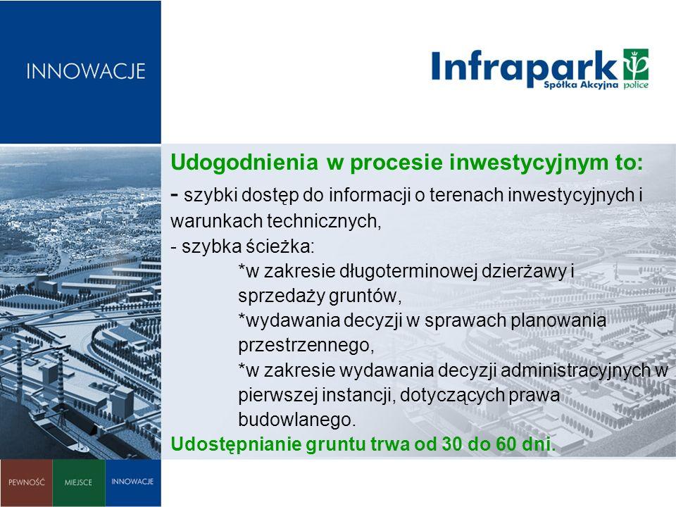 Udogodnienia w procesie inwestycyjnym to: - szybki dostęp do informacji o terenach inwestycyjnych i warunkach technicznych, - szybka ścieżka: *w zakresie długoterminowej dzierżawy i sprzedaży gruntów, *wydawania decyzji w sprawach planowania przestrzennego, *w zakresie wydawania decyzji administracyjnych w pierwszej instancji, dotyczących prawa budowlanego.