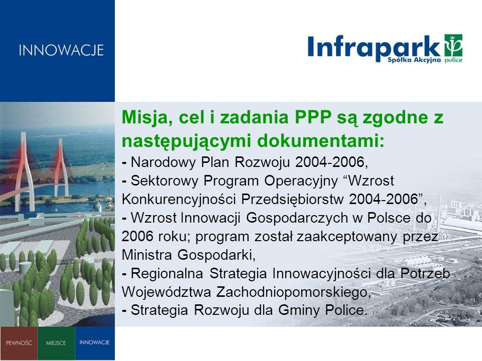 Misja, cel i zadania PPP są zgodne z następującymi dokumentami: - Narodowy Plan Rozwoju 2004-2006, - Sektorowy Program Operacyjny Wzrost Konkurencyjności Przedsiębiorstw 2004-2006 , - Wzrost Innowacji Gospodarczych w Polsce do 2006 roku; program został zaakceptowany przez Ministra Gospodarki, - Regionalna Strategia Innowacyjności dla Potrzeb Województwa Zachodniopomorskiego, - Strategia Rozwoju dla Gminy Police.