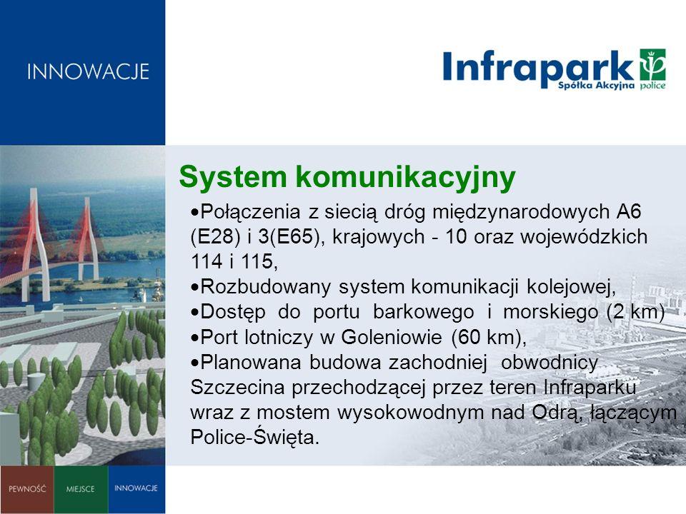 System komunikacyjny Połączenia z siecią dróg międzynarodowych A6 (E28) i 3(E65), krajowych - 10 oraz wojewódzkich 114 i 115,