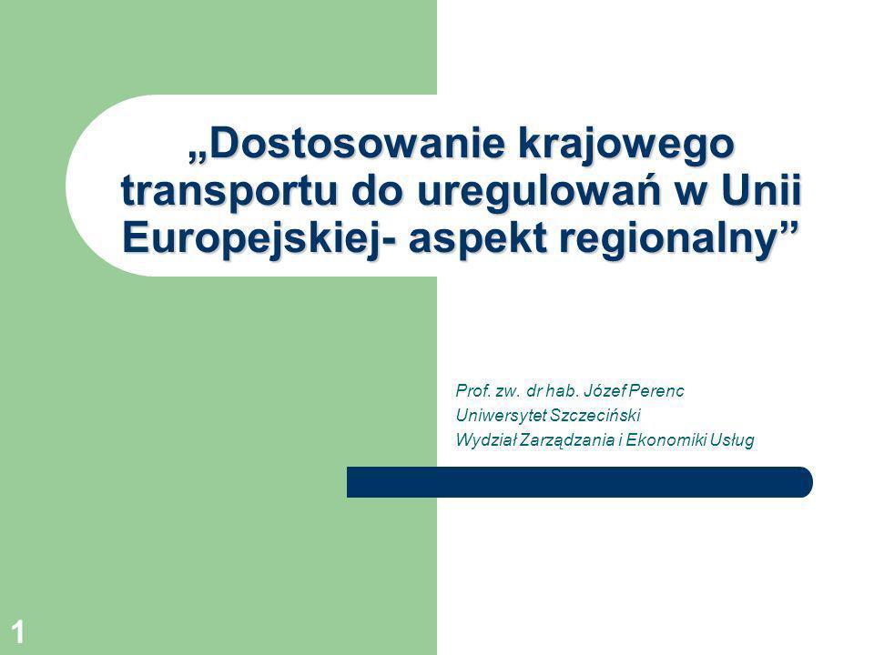 """""""Dostosowanie krajowego transportu do uregulowań w Unii Europejskiej- aspekt regionalny"""