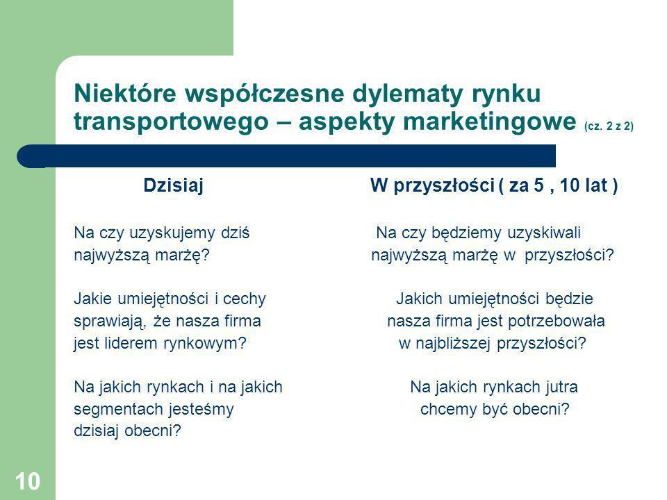 Niektóre współczesne dylematy rynku transportowego – aspekty marketingowe (cz. 2 z 2)