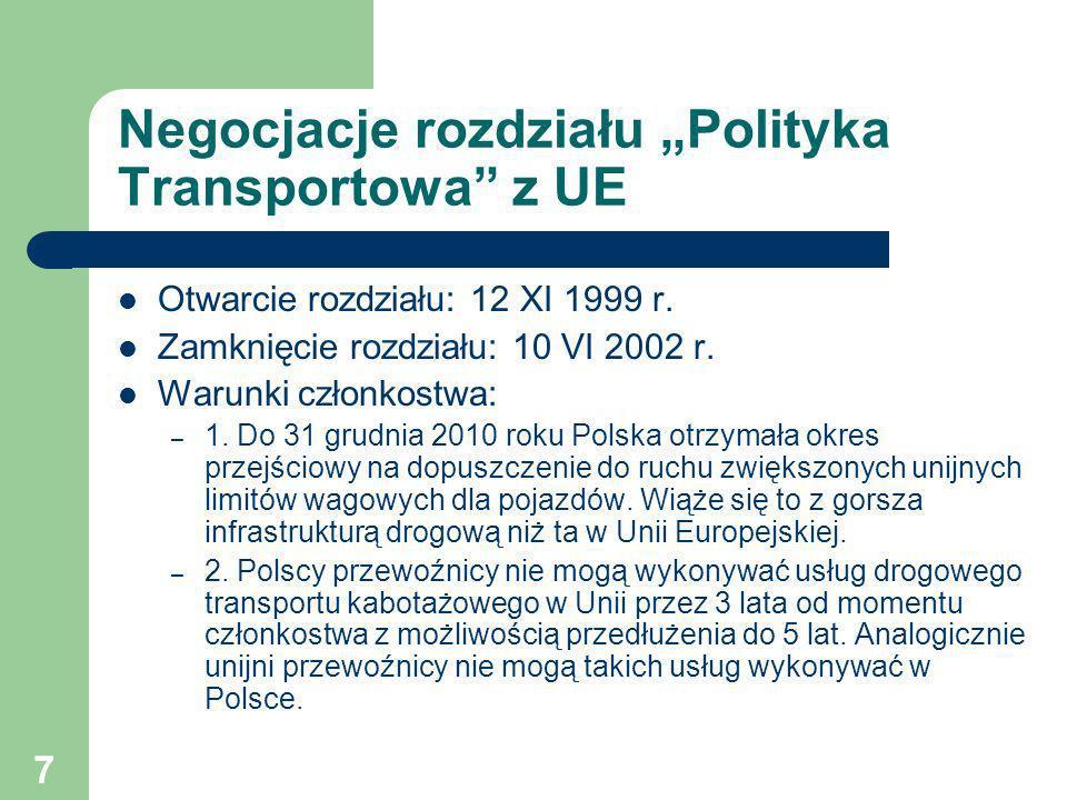 """Negocjacje rozdziału """"Polityka Transportowa z UE"""