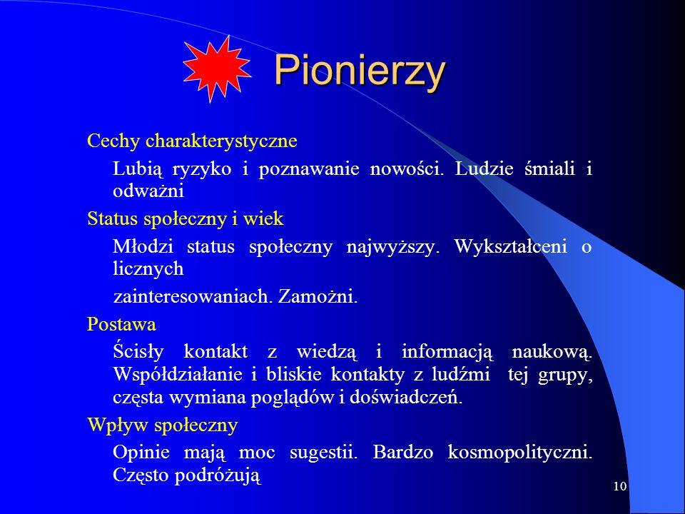 Pionierzy Cechy charakterystyczne
