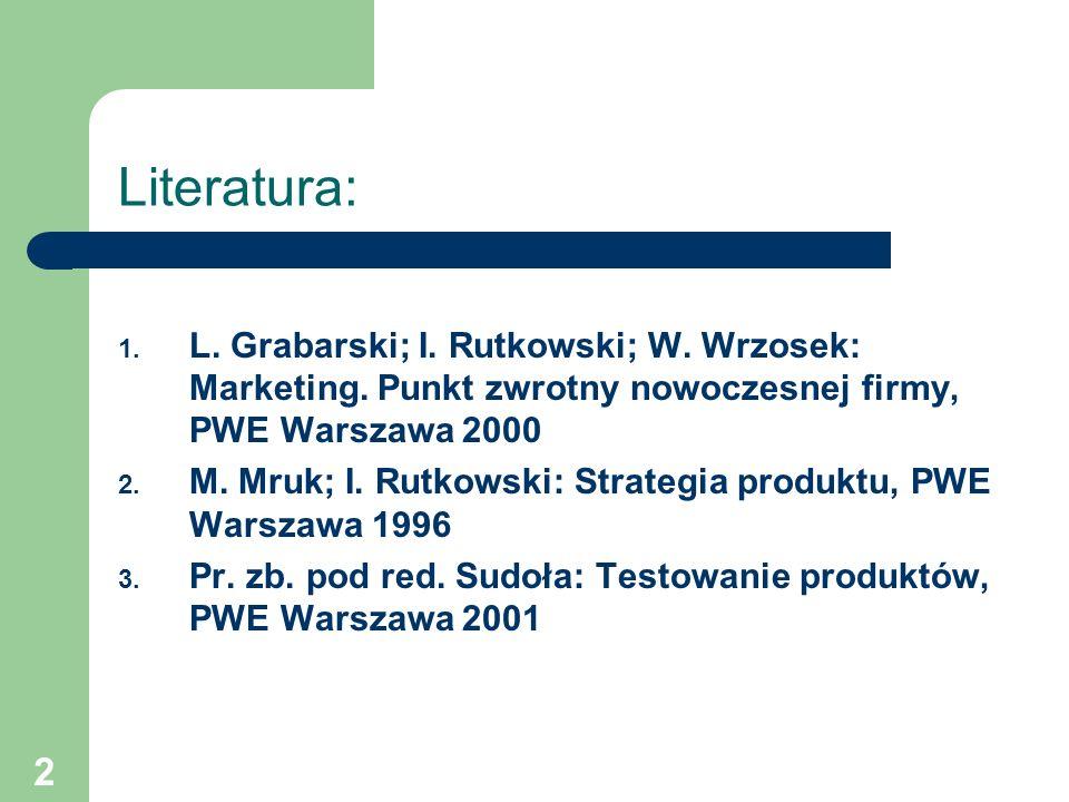 Literatura: L. Grabarski; I. Rutkowski; W. Wrzosek: Marketing. Punkt zwrotny nowoczesnej firmy, PWE Warszawa 2000.