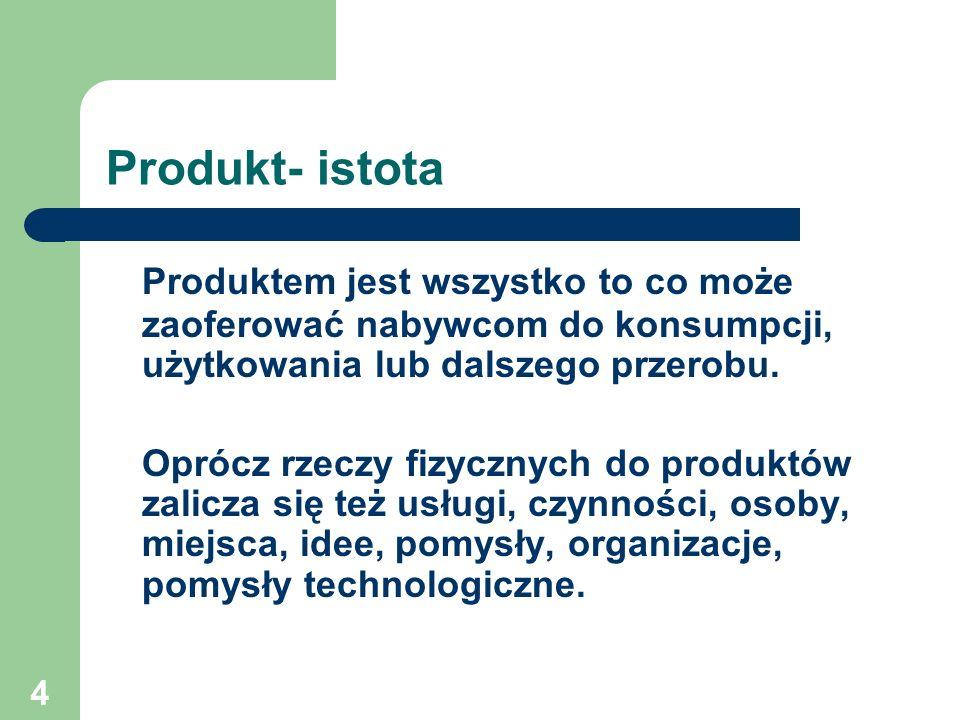 Produkt- istota Produktem jest wszystko to co może zaoferować nabywcom do konsumpcji, użytkowania lub dalszego przerobu.