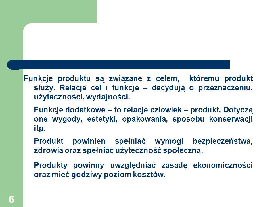 Funkcje produktu są związane z celem, któremu produkt służy