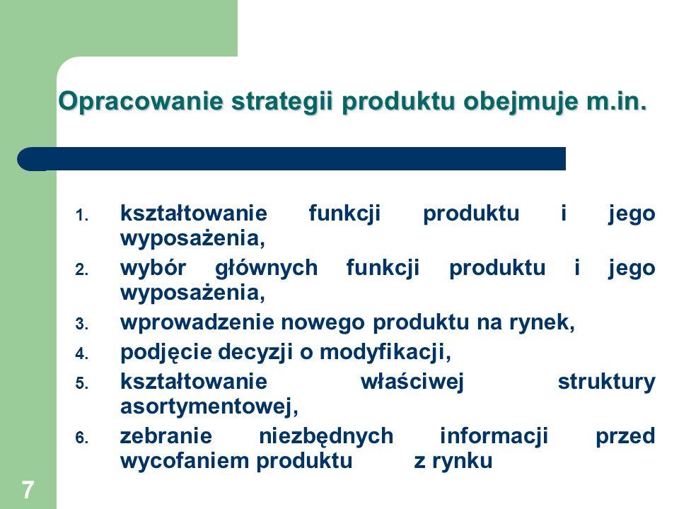 Opracowanie strategii produktu obejmuje m.in.
