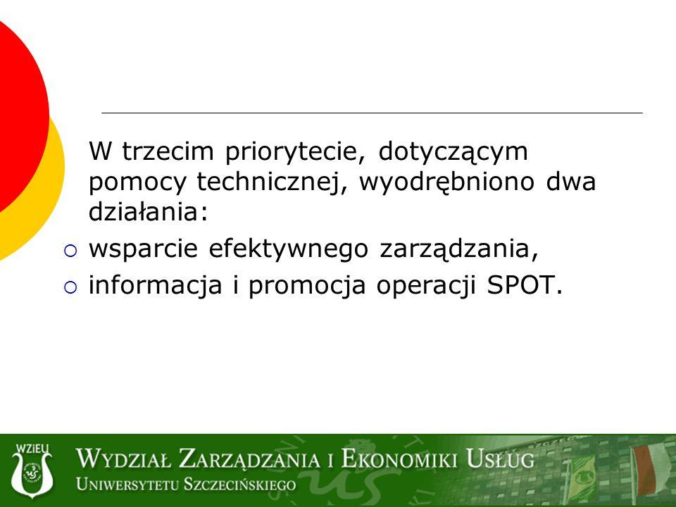 wsparcie efektywnego zarządzania, informacja i promocja operacji SPOT.