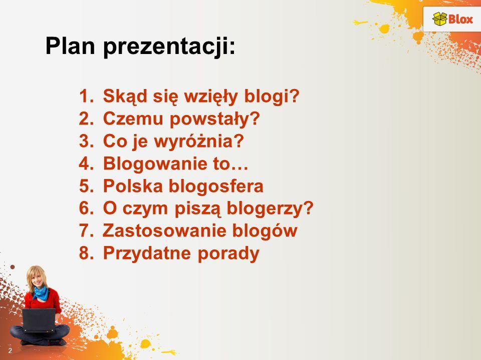 Plan prezentacji: Skąd się wzięły blogi Czemu powstały