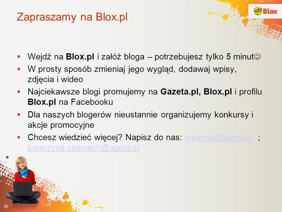 Zapraszamy na Blox.pl Wejdź na Blox.pl i załóż bloga – potrzebujesz tylko 5 minut