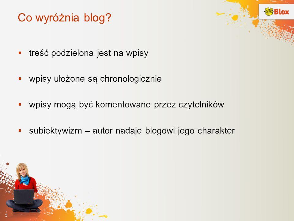 Co wyróżnia blog treść podzielona jest na wpisy