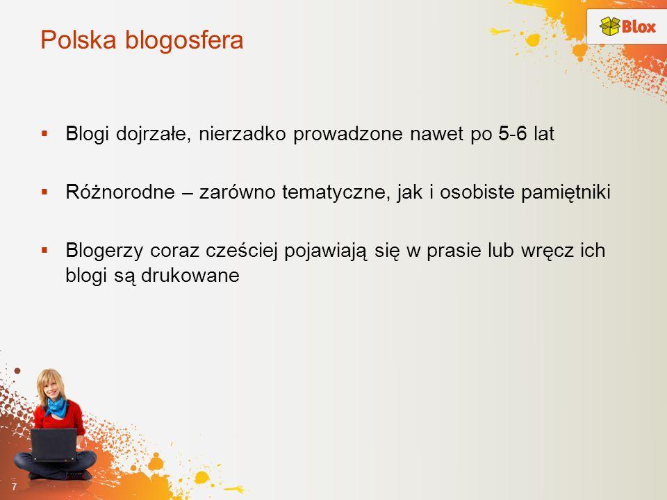 Polska blogosfera Blogi dojrzałe, nierzadko prowadzone nawet po 5-6 lat. Różnorodne – zarówno tematyczne, jak i osobiste pamiętniki.