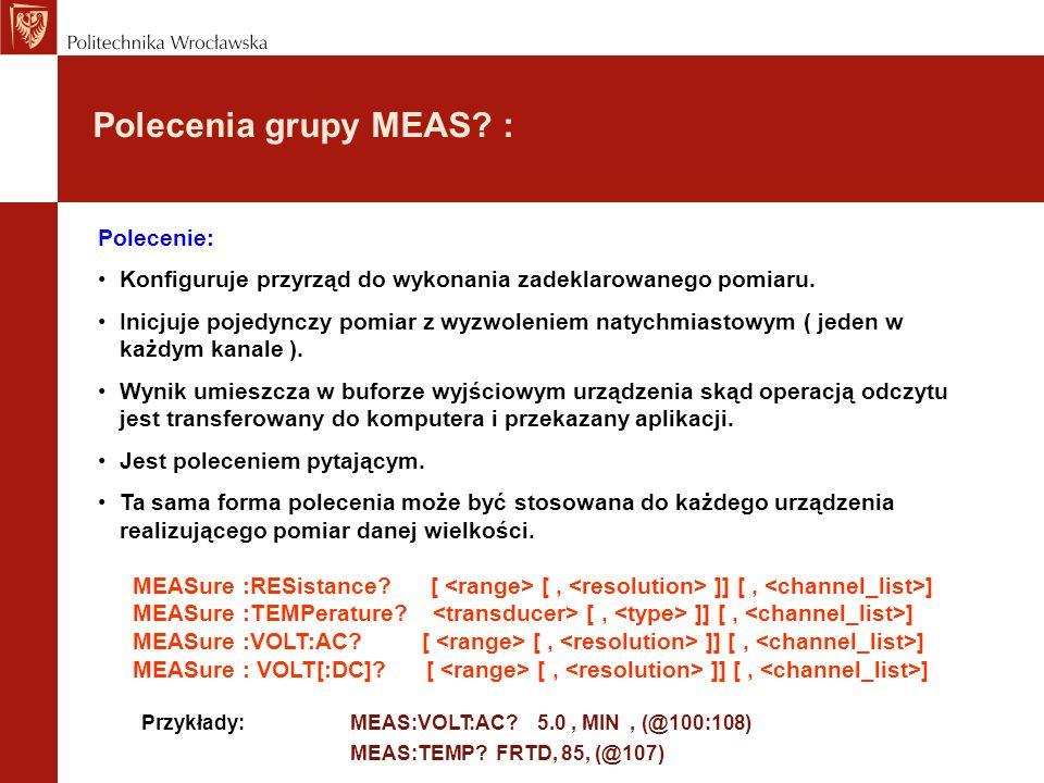 Polecenia grupy MEAS : Polecenie: