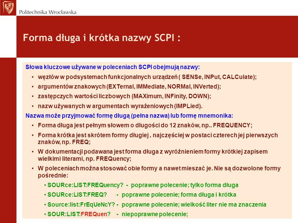 Forma długa i krótka nazwy SCPI :