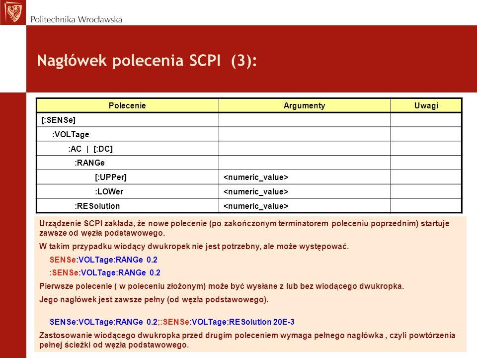 Nagłówek polecenia SCPI (3):