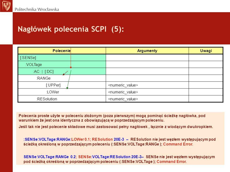 Nagłówek polecenia SCPI (5):