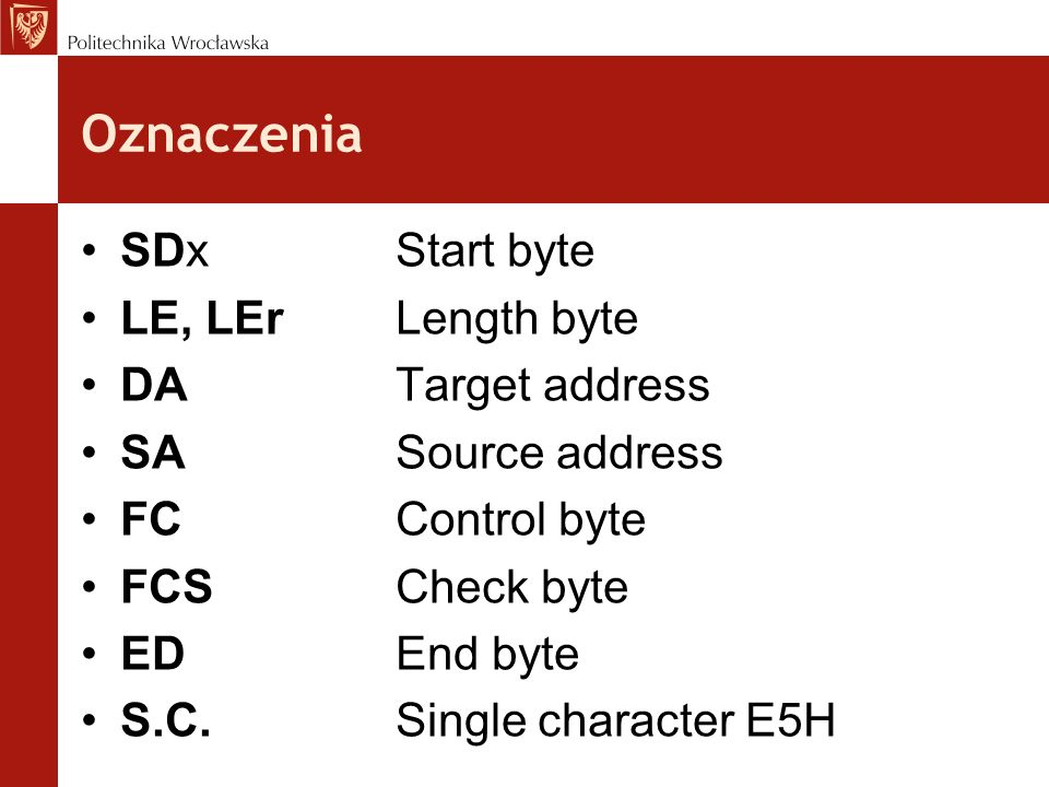 Oznaczenia SDx Start byte LE, LEr Length byte DA Target address