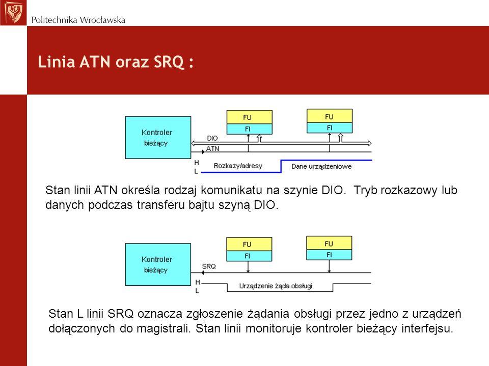 Linia ATN oraz SRQ :Stan linii ATN określa rodzaj komunikatu na szynie DIO. Tryb rozkazowy lub danych podczas transferu bajtu szyną DIO.