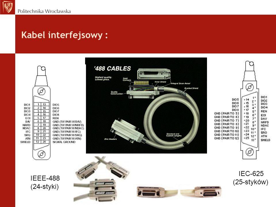 Kabel interfejsowy : IEC-625 (25-styków) IEEE-488 (24-styki)