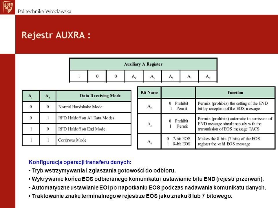 Rejestr AUXRA : Konfiguracja operacji transferu danych: