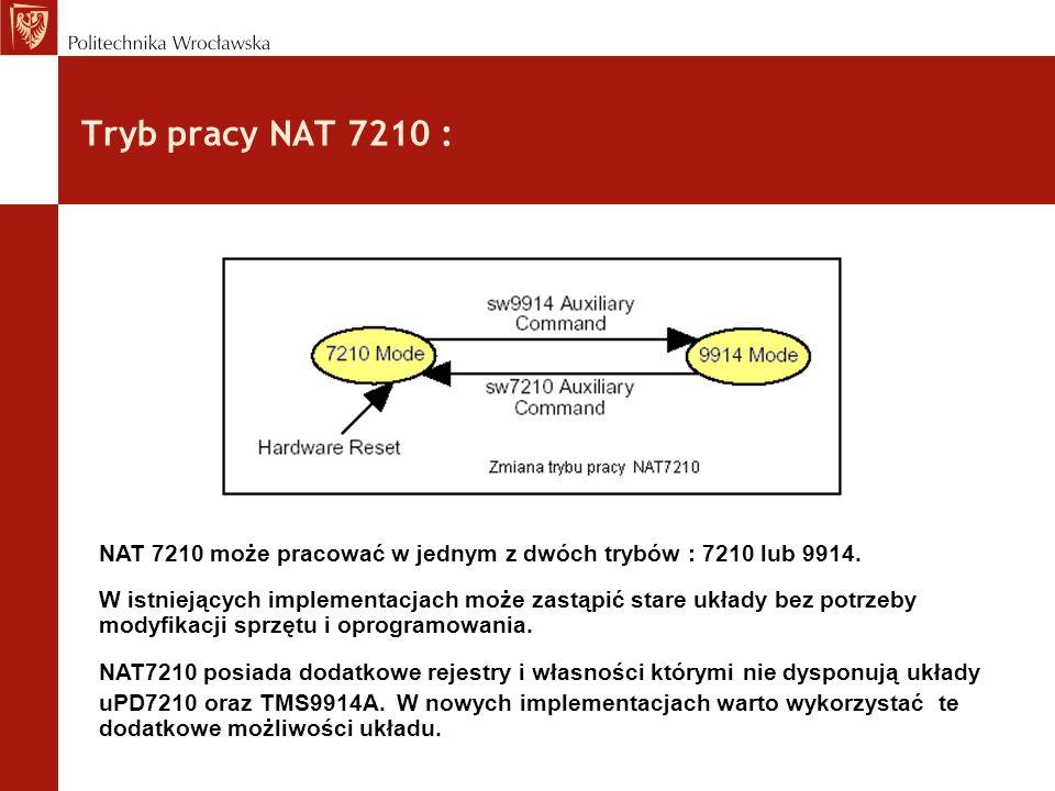 Tryb pracy NAT 7210 : NAT 7210 może pracować w jednym z dwóch trybów : 7210 lub 9914.