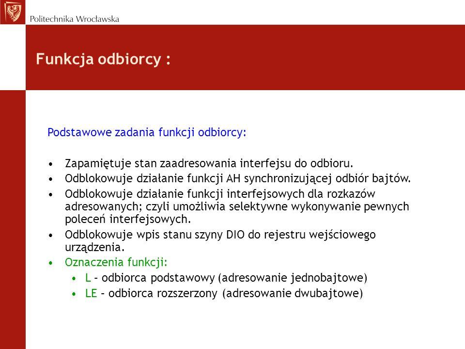 Funkcja odbiorcy : Podstawowe zadania funkcji odbiorcy: