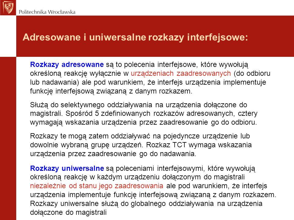 Adresowane i uniwersalne rozkazy interfejsowe: