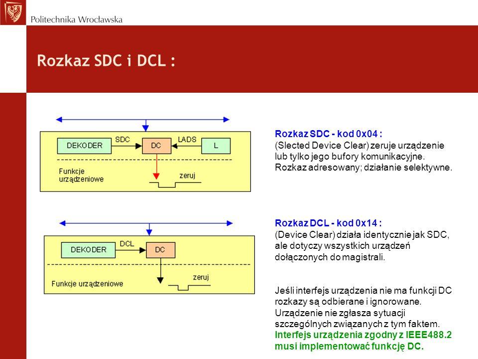 Rozkaz SDC i DCL : Rozkaz SDC - kod 0x04 : (Slected Device Clear) zeruje urządzenie lub tylko jego bufory komunikacyjne.