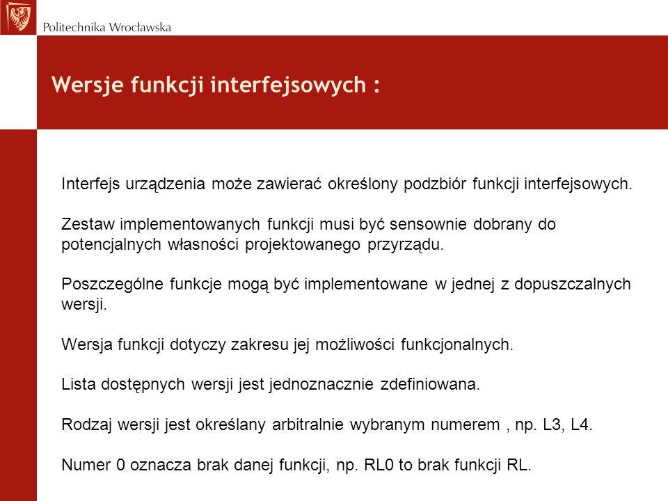 Wersje funkcji interfejsowych :