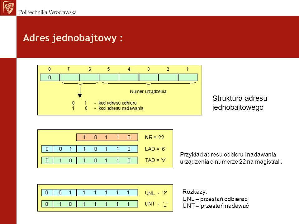 Adres jednobajtowy : Struktura adresu jednobajtowego