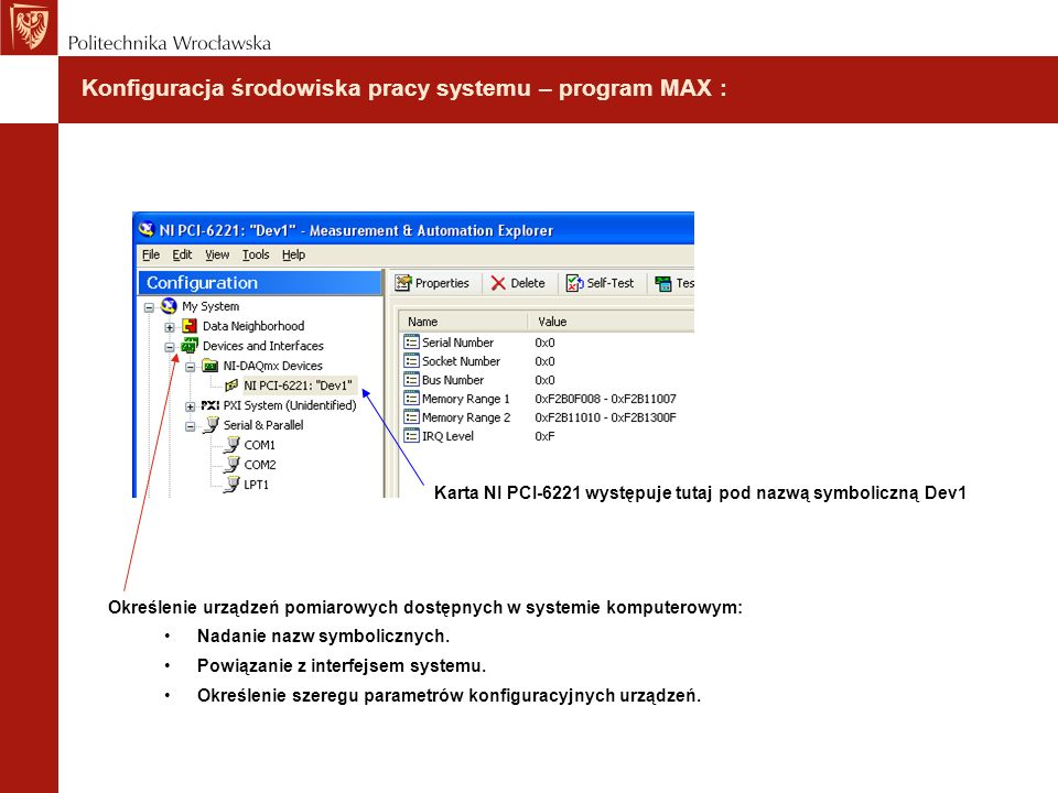 Konfiguracja środowiska pracy systemu – program MAX :