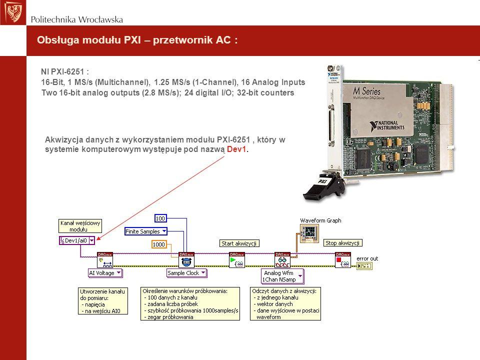 Obsługa modułu PXI – przetwornik AC :